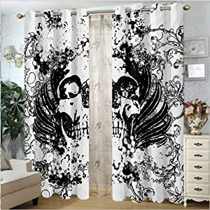 Gothic Elegant Drapes Privacy Protection and Home Decoration Scary Skull in Grunge Sketch Dead Themed Dark Horror Evil Illustration Image Black and White 54