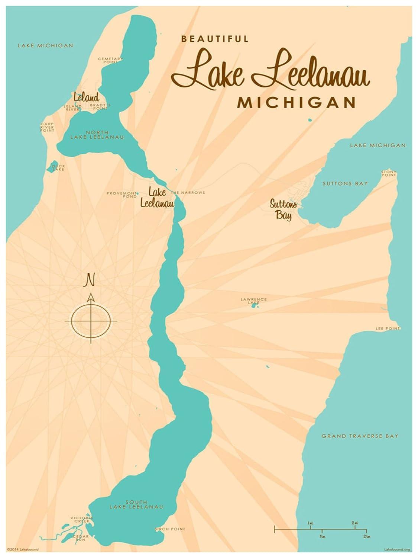 Amazon Com Lake Leelanau Michigan Map Vintage Style Art Print By