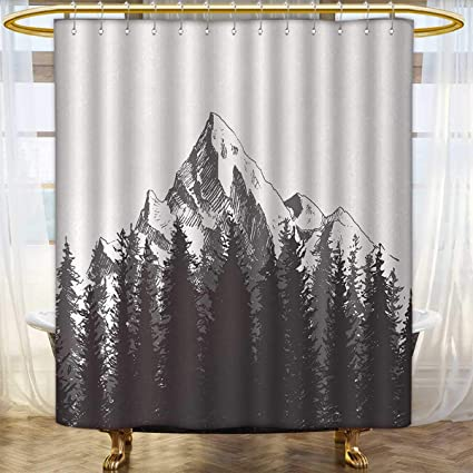 Primitive Shower Curtains Sets Bathroom Mountain With Fir Forest And Native American Arrow Figure Folk Style