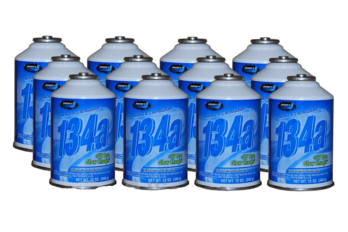Johnsen's (6313) R-134a AC Refrigerant + UV Dye Glow Charge 12oz (12 Cans)