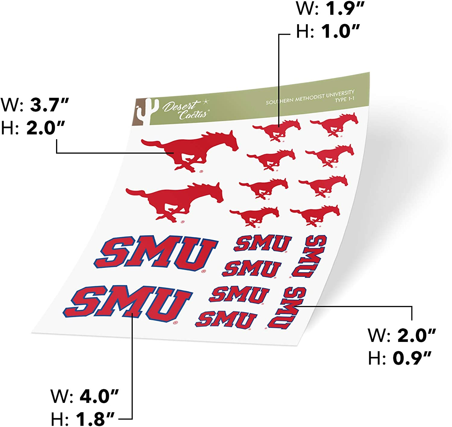 Sticker - 002 Southern Methodist University SMU Mustangs NCAA Vinyl Decal Laptop Water Bottle Car Scrapbook