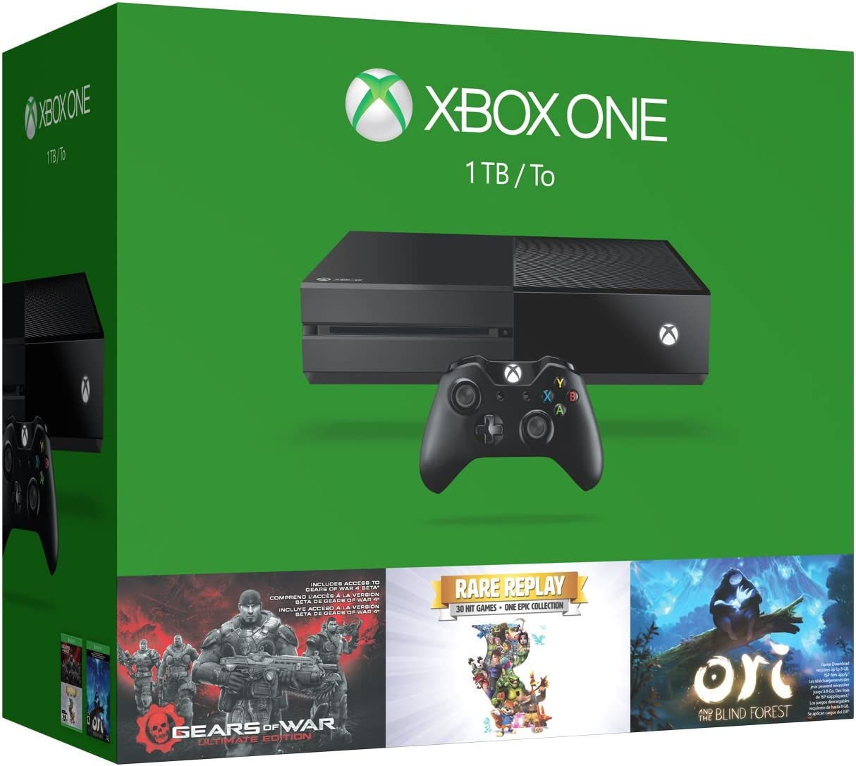 Xbox One 1TB Console – 3 Games Holiday Bundle Gears of War Ultimate Edition Rare Replay Ori and the Blind Forest