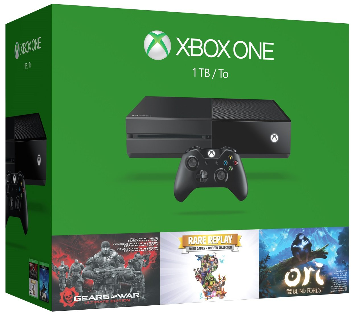 Amazon Com Xbox One 1tb Console 3 Games Holiday Bundle Gears Of War Ultimate Edition Rare Replay Ori And The Blind Forest Video Games