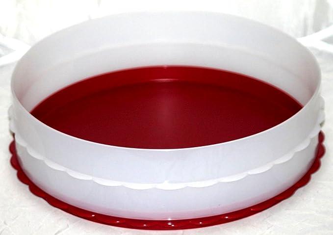 1a TUPPER D110 Tortenring mit losem Boden HOCHSTAPLER --- rot weiß