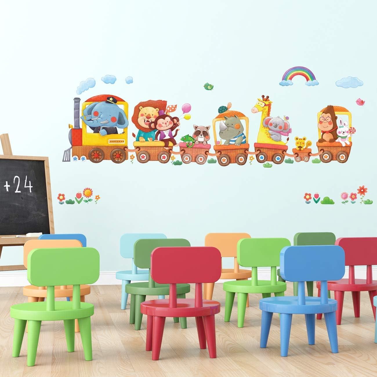 DECOWALL DL-1406BL Montgolfi/ères Animaux Autocollants Muraux Mural Stickers Chambre Enfants B/éb/é Garderie Salon Extra Grand