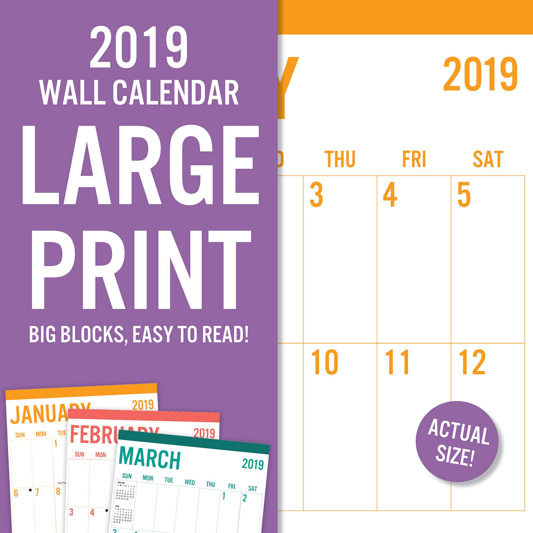 Avalon 2019 Wall Calendar, Large Print-Basic, 12 x 12 inches (82389)