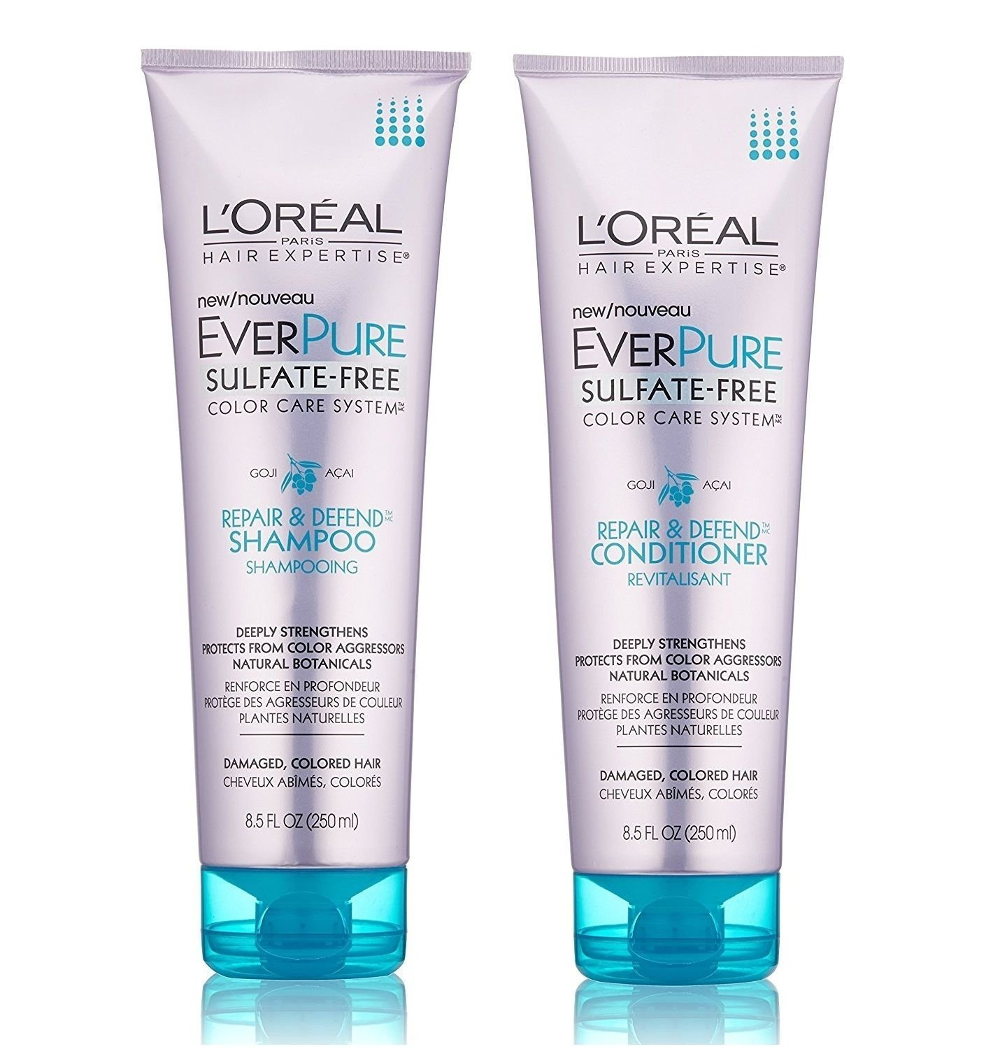 L'Oreal Paris Hair Care Expertise EverPure Repair and Defend Shampoo and Conditioner, 8.5 Fluid Ounce Each
