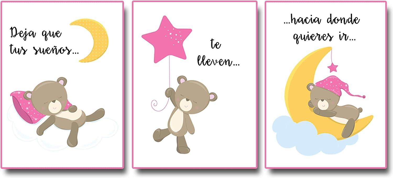 Láminas Infantiles. Láminas para habitación Infantil de Bebé y Niña. Set de 3 Láminas para Cuadros Infantiles Modernas para habitación de niña. Color Rosa. Tamaño A4, 21 x 30 cm.