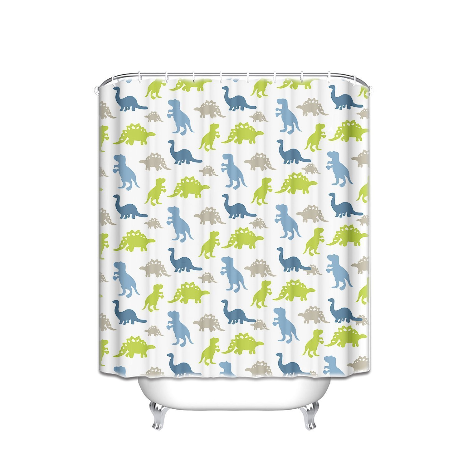 Fabric Shower Curtain Dino Park Dinosaur Design Children's Bathroom Decor Mildew Resistant Polyester Fabric Bathroom Set with Hooks,Animal Home Decor,36 x 72