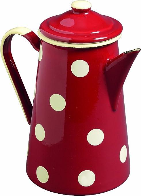Emalia - Cafetera (1 L), diseño de Lunares, Color Rojo y Blanco ...
