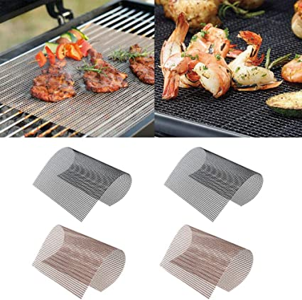 Amazon Com Bbq Grill Mesh Mat Set Of 4 Heavy Duty Heat Resistant Ptfe Coated Fiberglass 15 75x13 Inch Non Stick Teflon Bbq Grill Mats Easy To Clean Silicone Free Suitable For Smoker Pellet Gas Charcoal