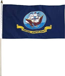 US Flag Store 12-Inch by 18-Inch Navy Flag Mounted on 24-Inch Wooden Stick