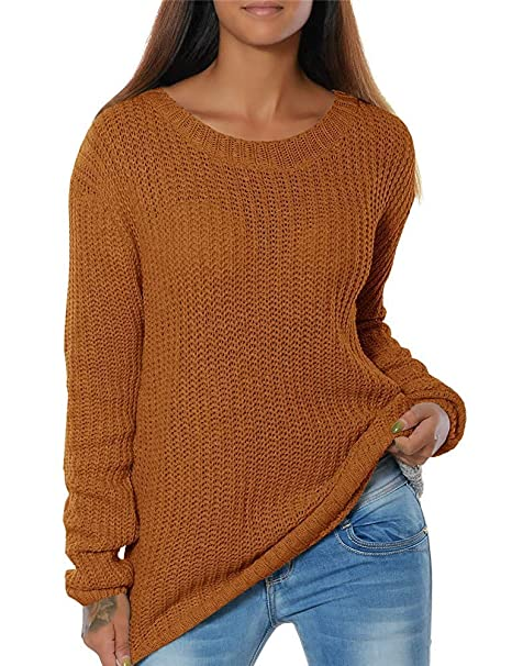 Amazon.com Womens Sweaters Fall Long Sleeve Crewneck Casual