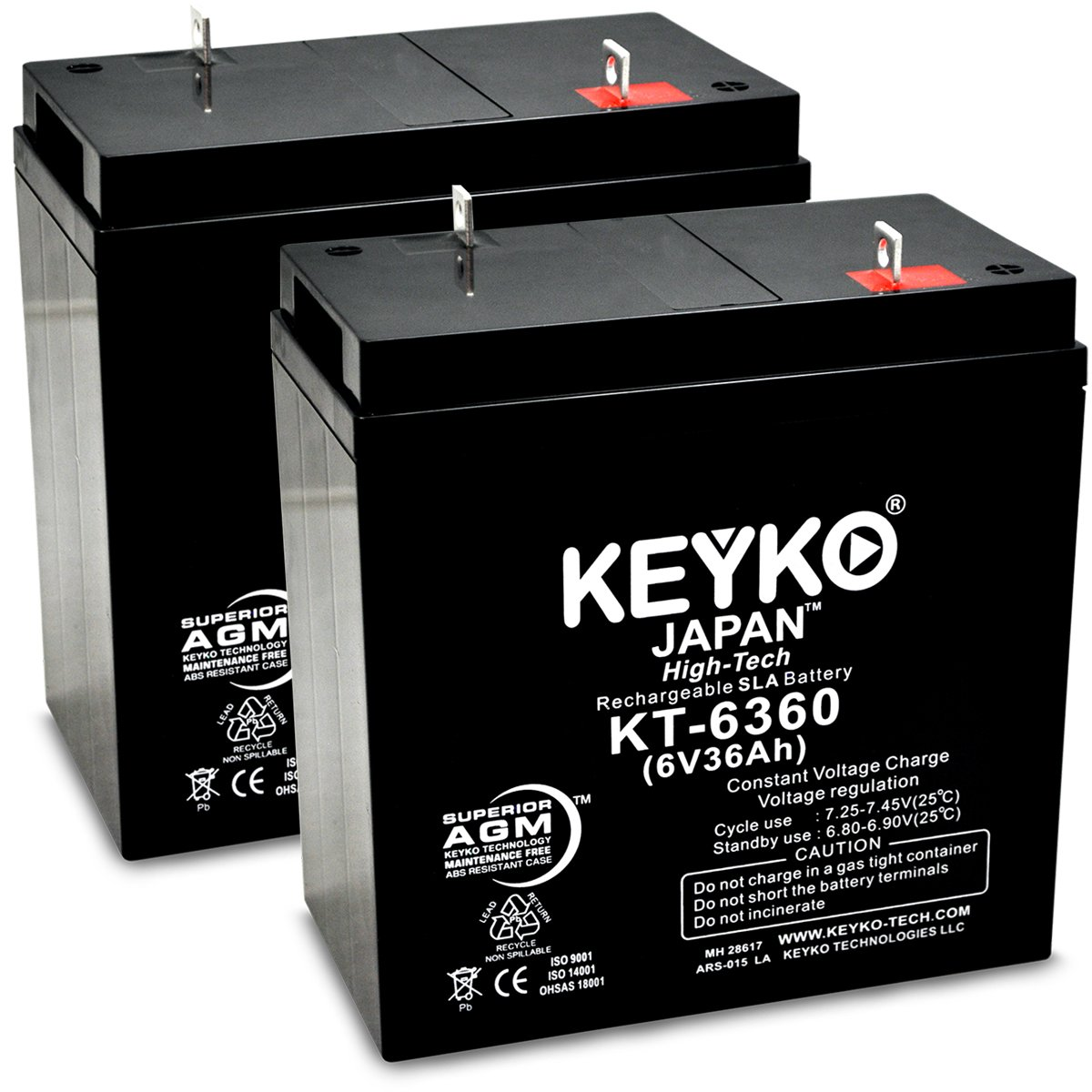KEYKO Genuine KT-6360 6V 36Ah Battery SLA Sealed Lead Acid / AGM Rechargeable Replacement - F2 Terminal - 2 Pack