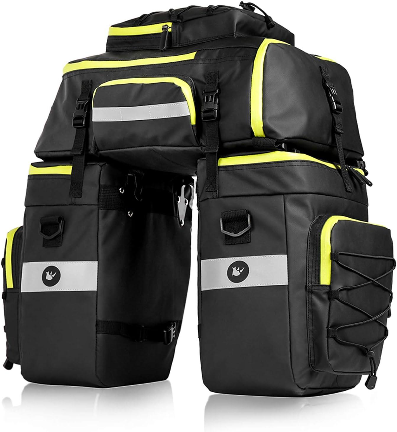 BAIGIO Bolsa Bicicleta, 3 in 1 Multifuncional Alforja Maletero Impermeable, 3 Compartimentos para Portaequipajes Asiento Trasero de Bicicleta de Carretera, Juego de Bolsas para Bcicleta Pannier