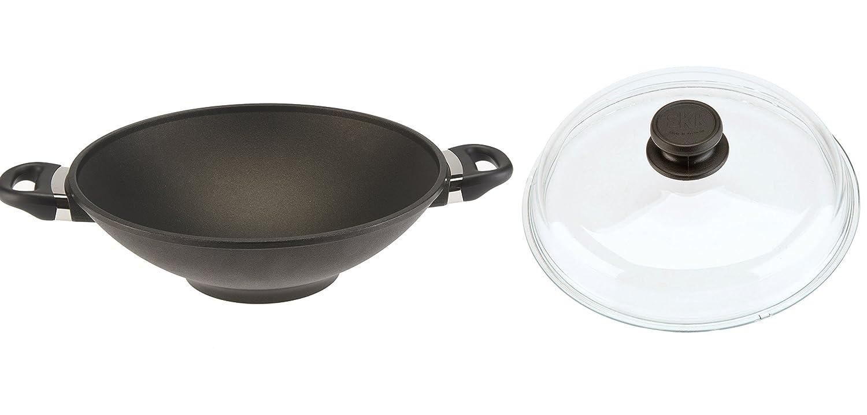 SKK 2751 titanio, hierro fundido-wok con tapa de cristal diámetro 32 cm: Amazon.es: Hogar