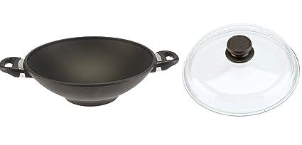 SKK 2751 titanio, hierro fundido-wok con tapa de cristal diámetro 32 cm