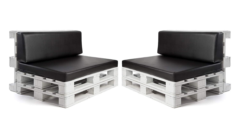 Conjunto colchonetas para sofas de palet y respaldos (2 x Unidades) Cojin relleno con espuma. Color Negro | Cojines para chill out, interior y ...