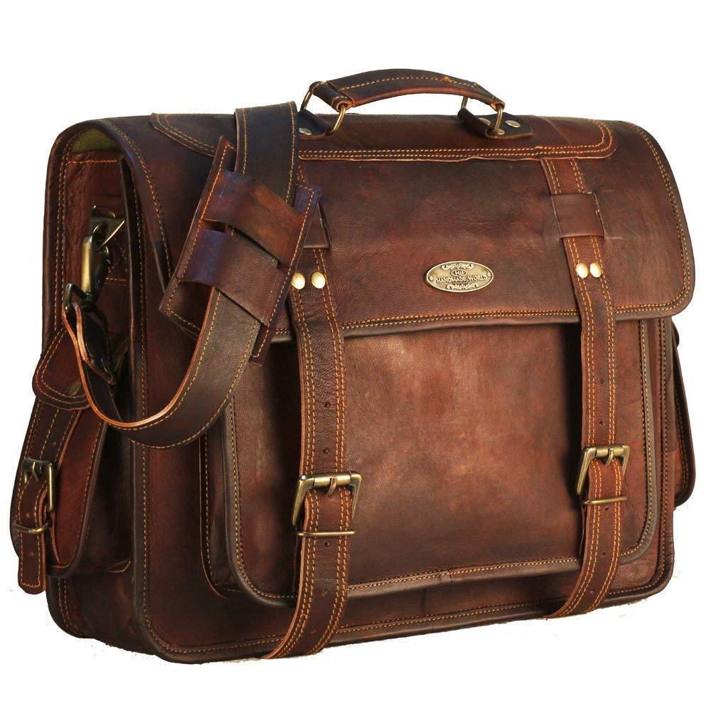 Large Genuine Leather Laptop Bags Shoulder Crossbody Satchel for Women by Handmade World 18 Inch Leather Messenger Bag briefcases for Men