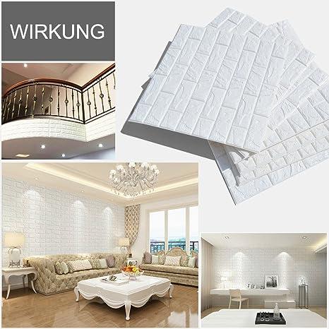 10pcs 3D Ziegelstein Tapete 60x60cm Weiß~Brick Pattern  Wallpaper~Wandaufkleber~ Fototapete ~Wandtapete ~Abnehmbare Selbstklebend  Imitation Ziegel Tapete, ...