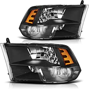 AUTOSAVER88 Headlight Assembly Compatible with 09-18 Dodge Ram 1500 2500 3500 Pickup QUAD Replacement Headlamp,Black Housing with Daytime Running Lamps
