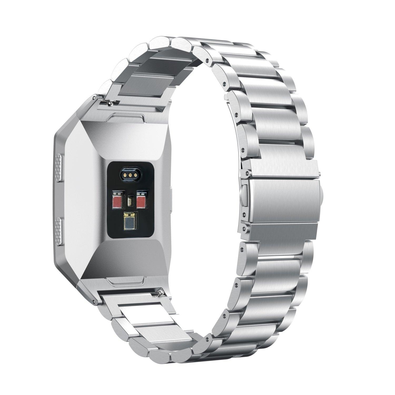 新しい交換用ステンレススチールバンド腕時計ストラップ、btchoice手首ストラップバンドブレスレットfor Fitbit Ionicハートレートブレスレット B075WT16G7 シルバー