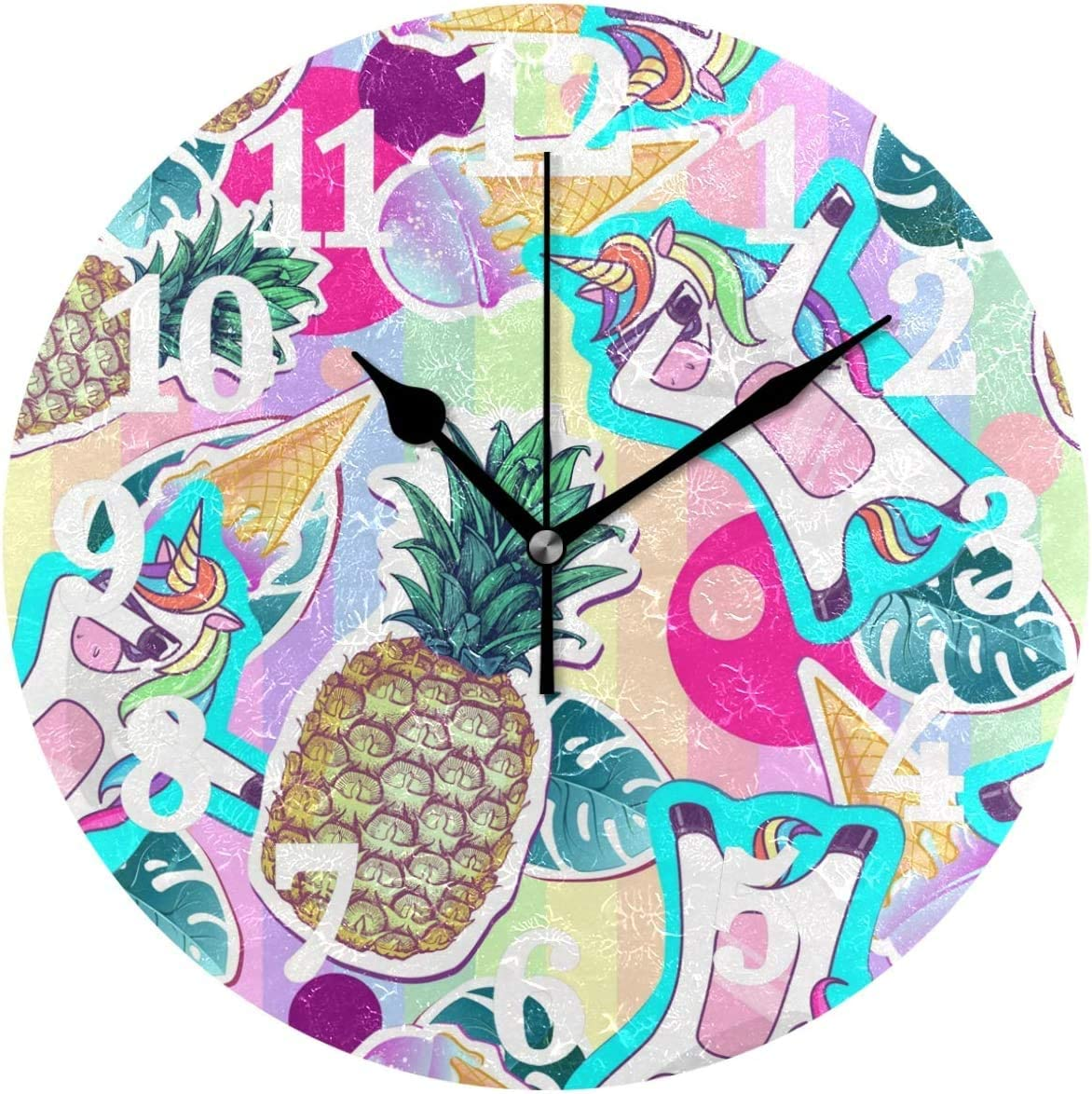 Amazon Com Acove Cute Unicorn Dabbing Pineapple Tropical Leafs Round Pvc Wall Clock 12 Inches For Home Decor Living Room Kitchen Bedroom Office School Home Kitchen