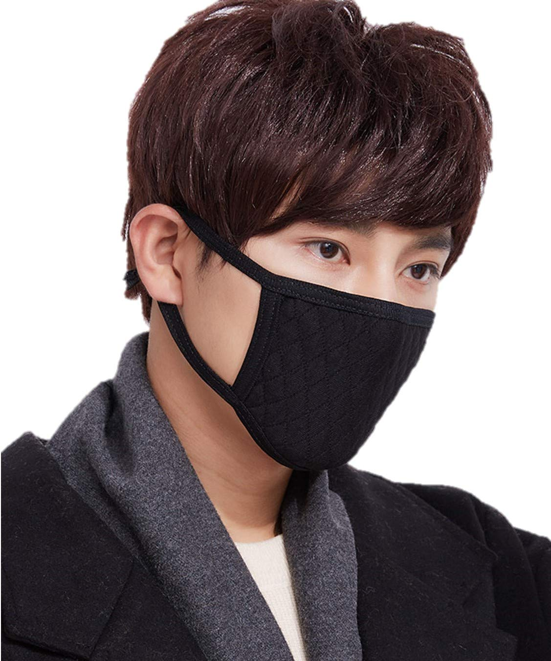 iHomey 3-Pack PM 2.5 Cotton Face Mouth Mask with Filter Dustproof Anti-flu (3Pcs Thicken Black-A)