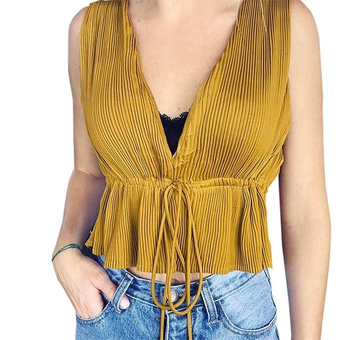 77f42a84046 Cebbay Blusa con Cuello en V sin Mangas de Verano para Mujer(Amarillo,  S-L): Amazon.es: Ropa y accesorios