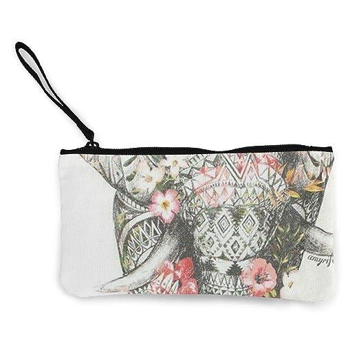 5b413683f664 Flowers Elephant Unisex Canvas Coin Purse Change Cash Bag Zipper ...