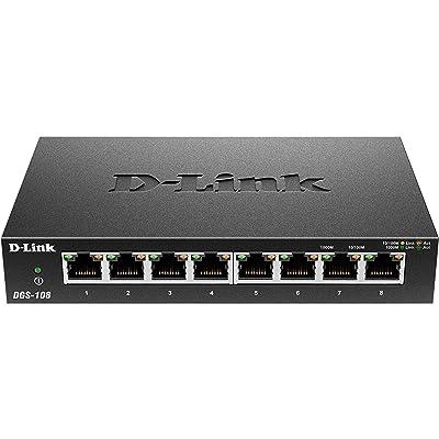 D-Link DGS-108 - Switch de red (8 puertos Gigabit RJ-45, 10/100/1000 Mbps, chasis metálico, IGMP snooping, autosensing, priorización de tráfico QoS 802.1p) color negro