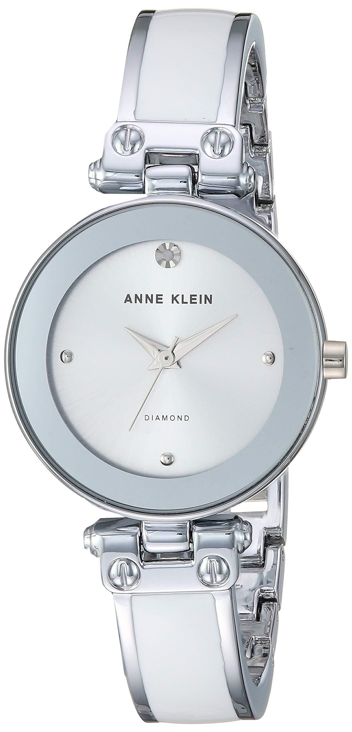 Anne Klein Women's AK/1981WTSV Swarovski Crystal Accented Silver-Tone and White Bangle Watch by Anne Klein
