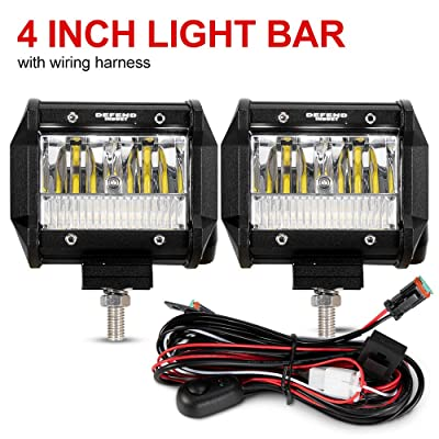 DEFEND INDUST 4 Inch LED Light Pods - 2PCS LED Light Bar 3200LM Spot Flood Combo Beam Driving Work Lamps and Off-Road Fog Lights for Jeep ATV UTV Pickup Boat: Automotive