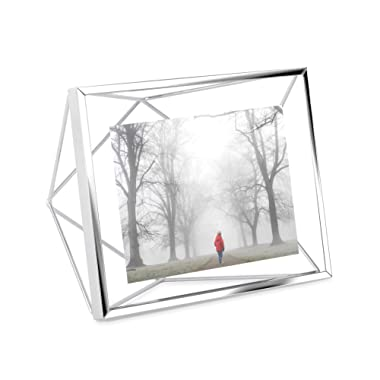 Umbra Prisma 4x6 Picture Frame – Geometric Wire Photo Frame for Desktop or Wall, Chrome