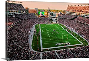 """Elevated View of Gillette Stadium, New England Patriots Canvas Wall Art Print, 24""""x16""""x1.25"""""""