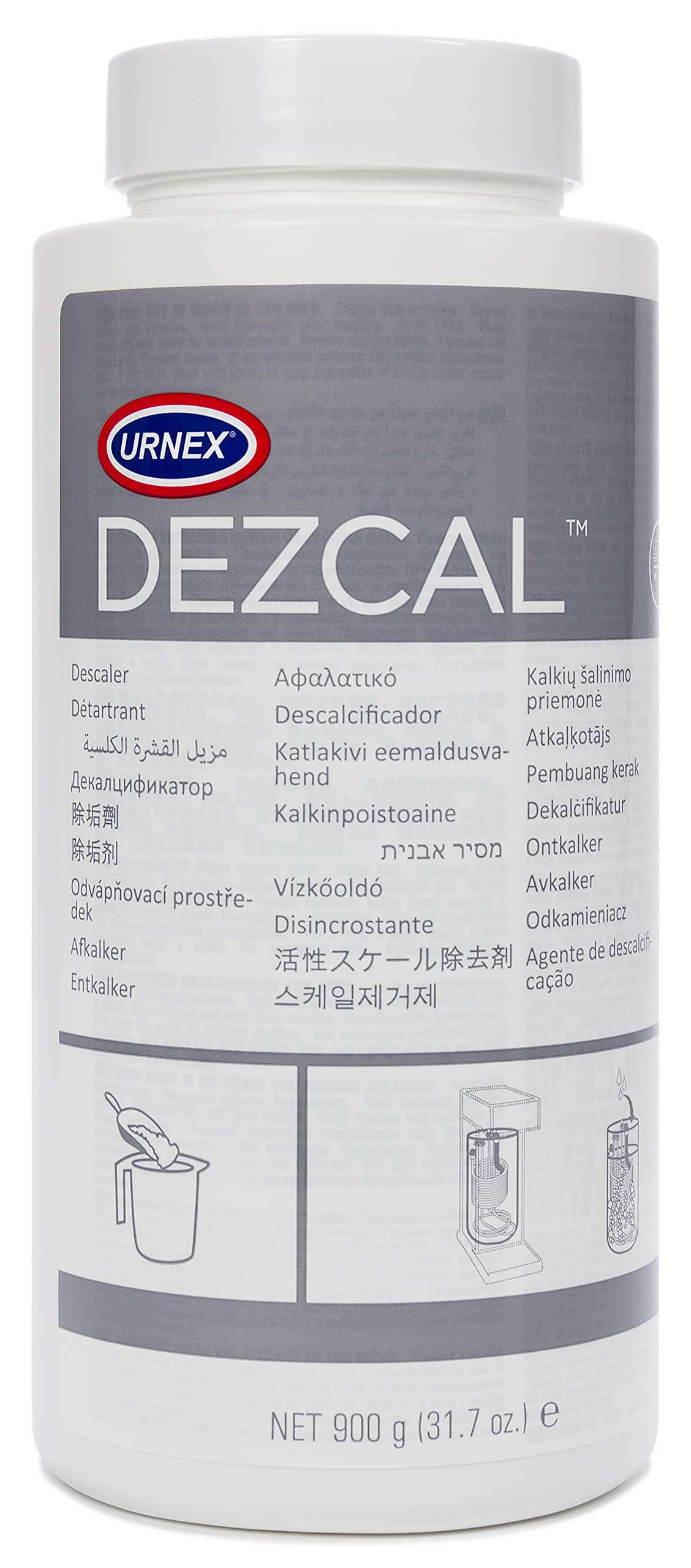 Urnex Dezcal Coffee and Espresso Machine Descaler Activated Scale Remover - 900g Bottle - Fast Effective