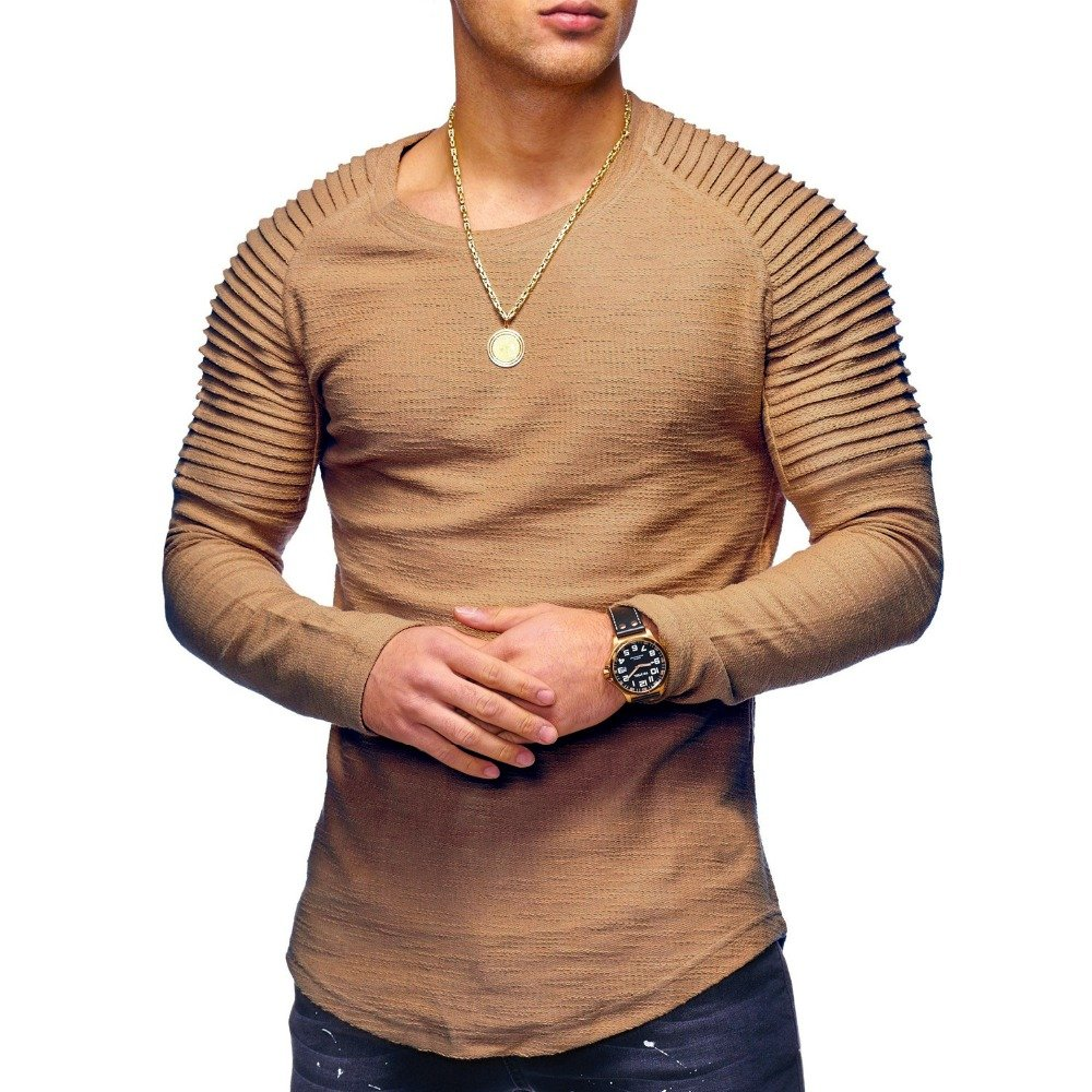 Hirate Men's Pleated Casual Long Sleeve T-Shirt Solid Color Fold O- Neck