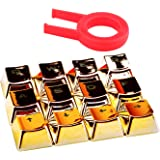 E Element Double Shot Electroplated Keycap Set, Translucent Backlit Key Cap for Mechanical Keyboards (Cherry mx switches) with Puller (Golden 12 Key)