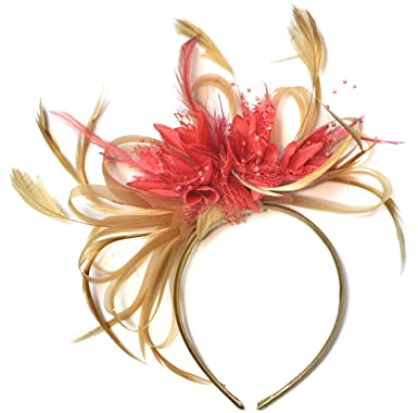 Champagne Gold Beige Camel and Coral Pink Fascinator on Headband ... 33eee440c58