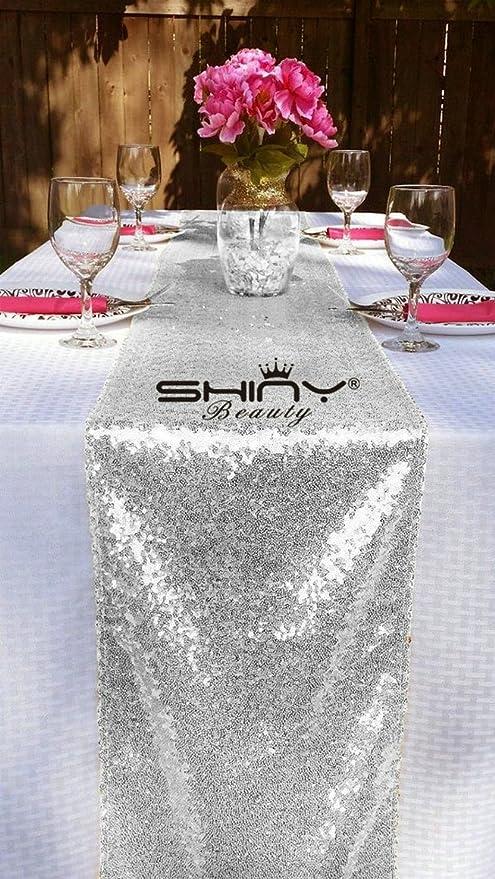 shinybeauty lentejuelas Camino de mesa plata 35 x 225 cm ...