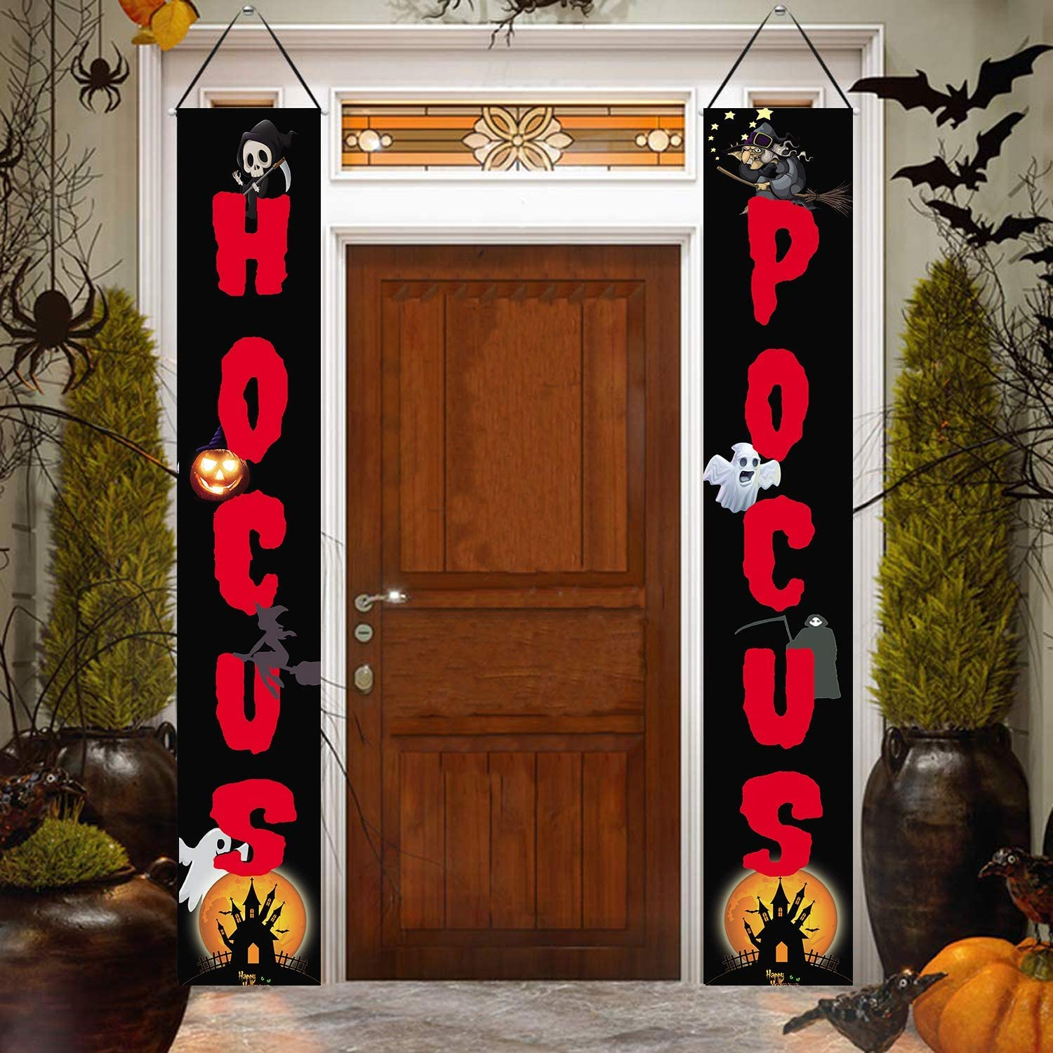 Hallowmas Porch Sign Halloween Banners Hallowmas Hanging Sign Halloween Decorations Indoor Outdoor for Home Wall Front Door Apartment Party