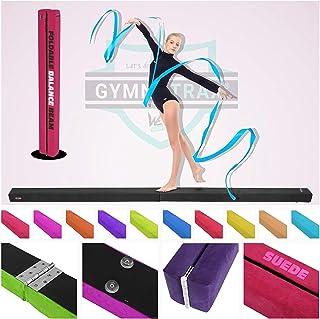 We R Sports 7FT - 8FT Gymnastics Folding Balance Beam Hard Wearing Suedine Home Gym Training