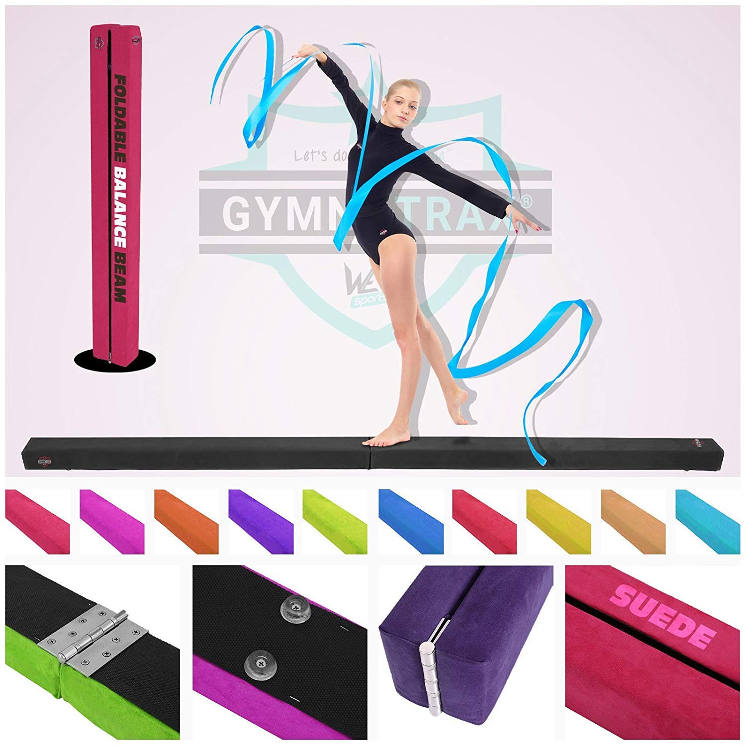 We R Sports 7FT - 8FT Gymnastics Folding Balance Beam Hard Wearing Suedine Home Gym Training