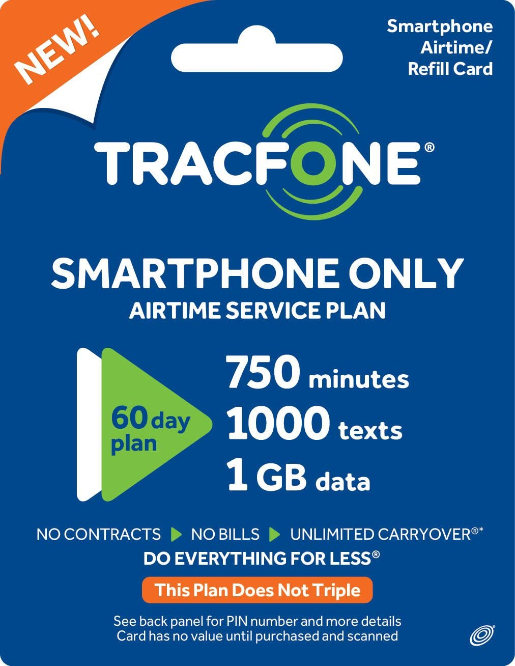 Tracfone Smartphone Only Airtime Service Plan - 60 Days, 750 Minutes, 1000 Texts, 1GB Data (Mail Delivery) 71ySiG1X68L