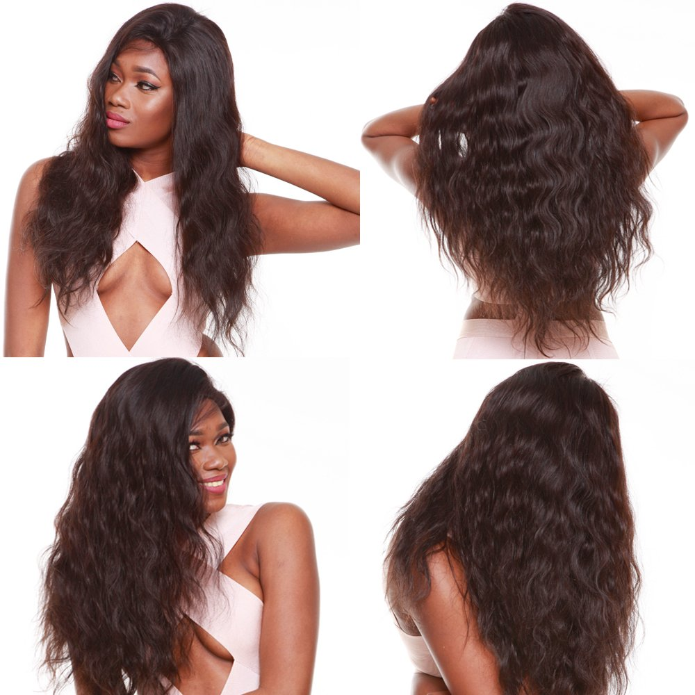R&S 100% Real Full Lace Human Hair Wigs Especially Lifelike With Baby Hair For Black Women 130% Density Unprocessed Smooth and Breathable very Comfortable Full Lace Wigs (16'' 1B# Body Wave)