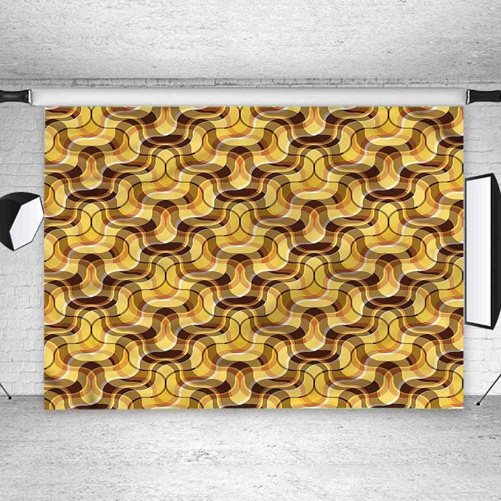 8x8FT Vinyl Backdrop Photographer,Yellow and Brown,Tartan Style Waves Background for Baby Shower Bridal Wedding Studio Photography Pictures