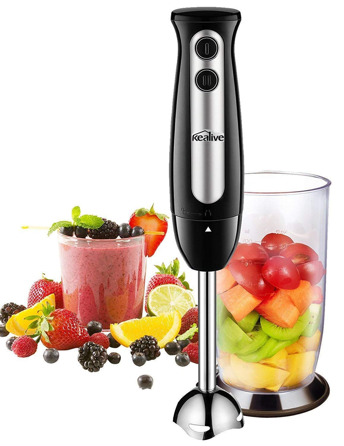 Immersion Blender, Kealive 2-in-1 Hand Blender with 700ml BPA-Free Beaker, 304 Stainless Steel Blades, Ergonomic Handle, 2-Speed Immersion Hand Blender for Baby Food, Juices, Sauces and Soup, 300W by AICOK-