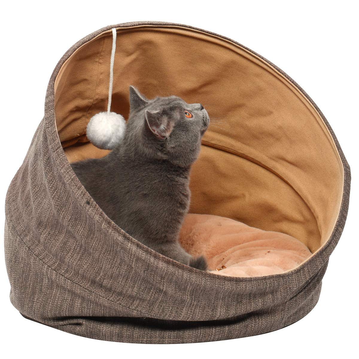 Cuddle Cave Pet Bed Tent for Cats or Small Dogs, Washable Foldable Kitten House with Luxury Shag Faux Fur Mattress & Toy Ball - Brown (18inch) by SUOCO (Image #4)