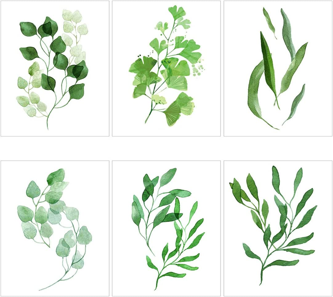 Meishe Art Modern Poster Print Watercolor Leaf Painting Green Leaves  Botanical Plant Ginkgo Popular Home Wall Decor 32pcs