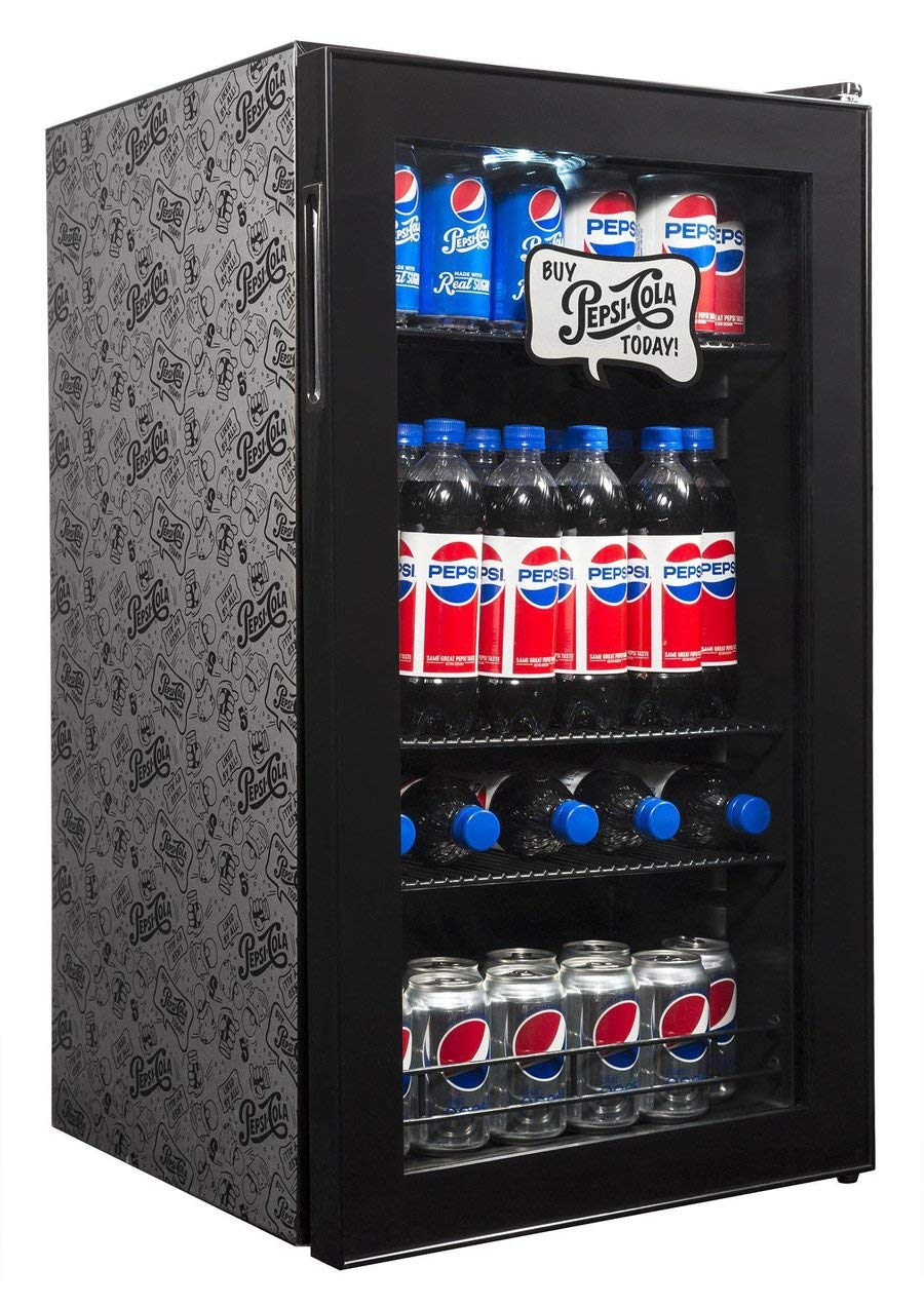 Pepsi Beverage Refrigerator Cooler with 126 Can Capacity, Mini Bar Beer Fridge with Right Hinge Glass Door, Cools to 34F, AB-1200BP, Pepsi & Pete